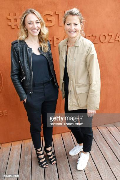 Journalist Laurie Delhostal and Astrid Bard attend the 2017 French Tennis Open Day Three at Roland Garros on May 30 2017 in Paris France