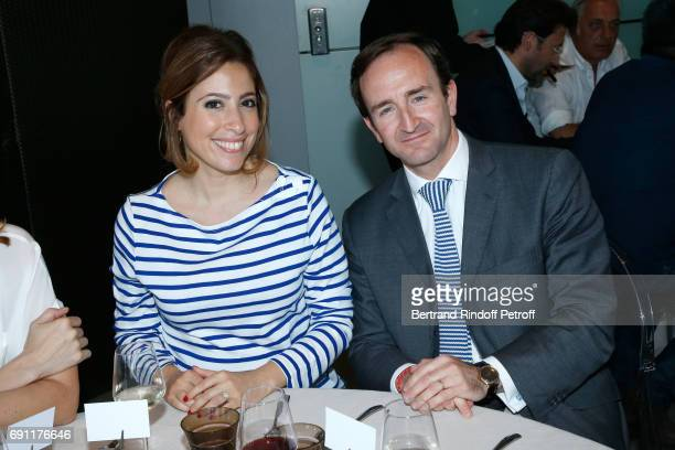 Journalist Lea Salame and General secretary of 'France Television' Francis Donnat attend the 'France Television' Lunch during the 2017 French Tennis...