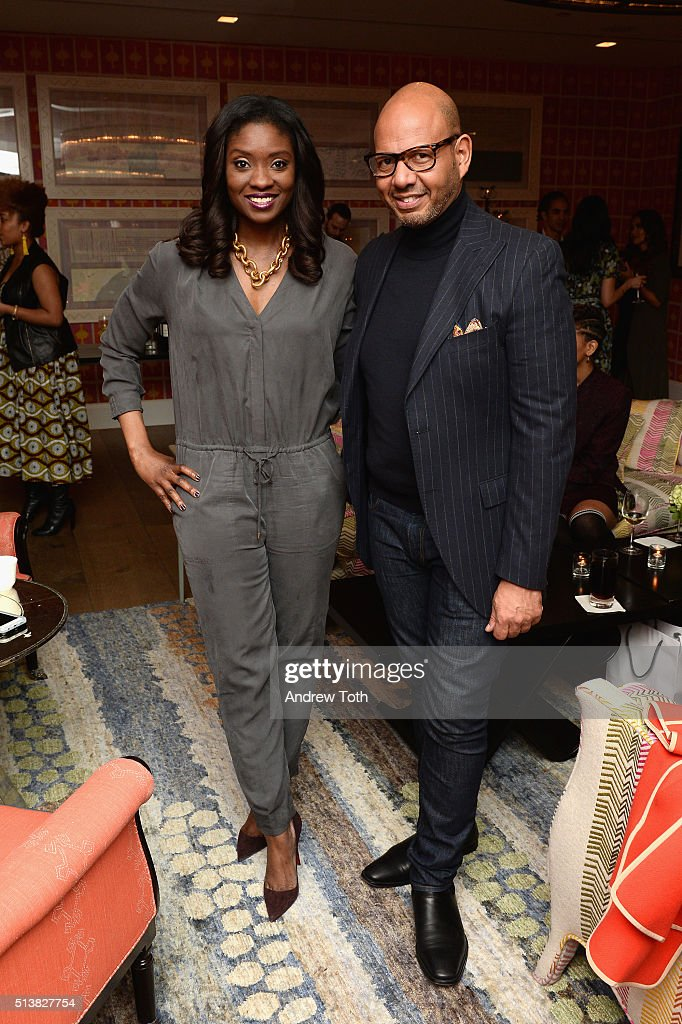 Journalist Lola Ogunnaike and Emil Wilbekin attend the The Beauty Of Power Event at Crosby Hotel on March 4, 2016 in New York City.