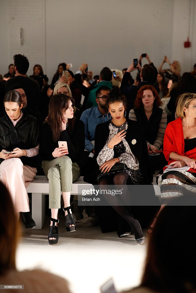 Journalist <a gi-track='captionPersonalityLinkClicked' href=/galleries/search?phrase=Louise+Roe&family=editorial&specificpeople=4300958 ng-click='$event.stopPropagation()'>Louise Roe</a>, Models <a gi-track='captionPersonalityLinkClicked' href=/galleries/search?phrase=Coco+Rocha&family=editorial&specificpeople=4172514 ng-click='$event.stopPropagation()'>Coco Rocha</a>, and <a gi-track='captionPersonalityLinkClicked' href=/galleries/search?phrase=Selita+Ebanks&family=editorial&specificpeople=619483 ng-click='$event.stopPropagation()'>Selita Ebanks</a> attend the Marissa Webb Fall 2016 fashion show during New York Fashion Week: The Shows at The Gallery, Skylight at Clarkson Square on February 11, 2016 in New York City.
