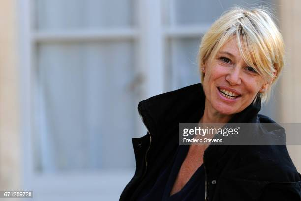 Journalist Maitena Biraben arrives at the Elysee Palace where Bill and Melinda Gates will receives the award of Commander of the Legion of Honor by...