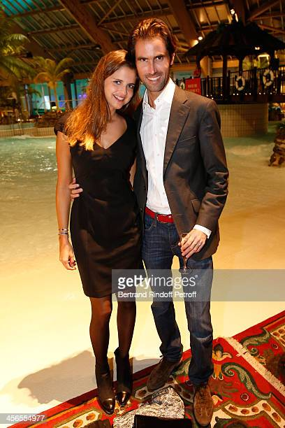 Journalist Margaux de Frouville and her companion Romain Carrere attend the 1st wedding anniversary party of actress Cyrielle Clair and businessman...