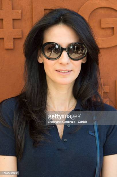 Journalist Marie Drucker attends the French Tennis Open Day Fourteen at Roland Garros on June 10 2017 in Paris France