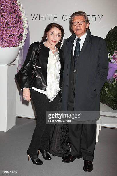Journalist Mariella Milani and husband attend 'L'Arte Nell'Uovo Di Pasqua' Charity Event at the White Gallery on March 24 2010 in Rome Italy
