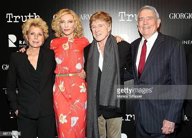 Journalist Mary Mapes actress Cate Blanchett actor Robert Redford and journalist Dan Rather attend the screening of Sony Pictures Classics' 'Truth'...