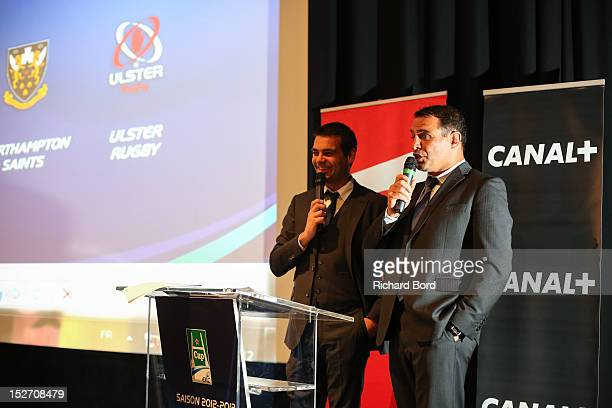 Journalist Matthieu Lartot and Raphael Ibanez speak during the Heineken Cup Launch press conference at France Television HQ on September 24 2012 in...