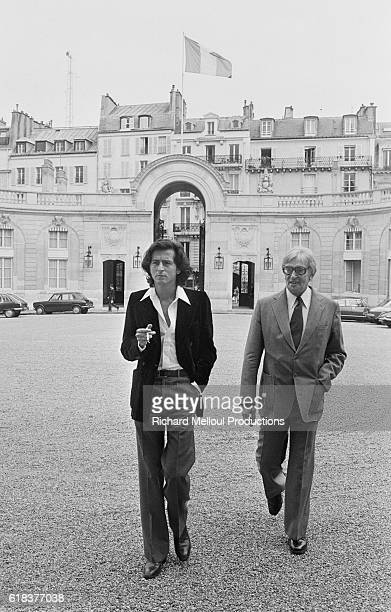 Journalist Maurice Clavel and philosopher BernardHenri Levy arrive at the Palais de l'Elysee where they were invited by French President Valery...