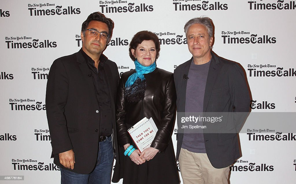 Journalist Maziar Bahari, writer Janet Maslin and director/tv personality Jon Stewart attend the TimesTalks with Jon Stewart and Maziar Bahari at TheTimesCenter on November 10, 2014 in New York City.