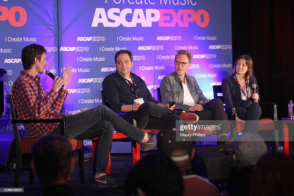 Journalist Mikael Wood, composer Adam Schlesinger, composer Jack Dolgen and actress/singer Rachel Bloom speak onstage during the 'Feeling Kinda Naughty' panel, part of the 2016 ASCAP 'I Create Music' EXPO on April 30, 2016 in Los Angeles, California.