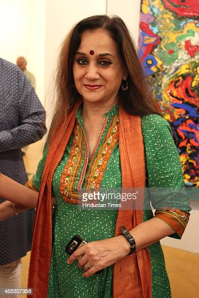 Journalist Nalini Singh at filmmaker Anu Malhotra's debut art show Hue Borne at Visual Arts Gallery India Habitat Centre on September 2 2014 in New...