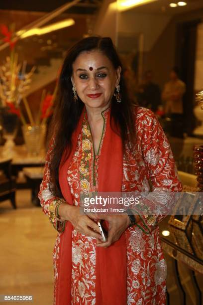Journalist Nalini Singh during an art exhibition organised by veteran artist Satish Gujral on September 22 2017 in New Delhi India At the event...