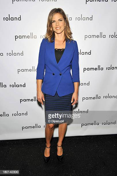 Journalist Natalie MoralesRhodes poses backstage at the pamella roland Spring 2014 fashion show during MercedesBenz Fashion Week on September 9 2013...