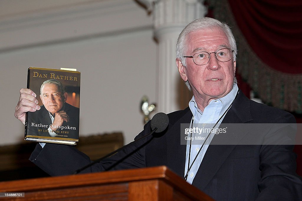 Journalist Neal Spelce introduces journalist/author Dan Rather as he talks about his new book 'Rather Outspoken' during the Texas Book Festival at the Texas State Capitol on October 28, 2012 in Austin, Texas.