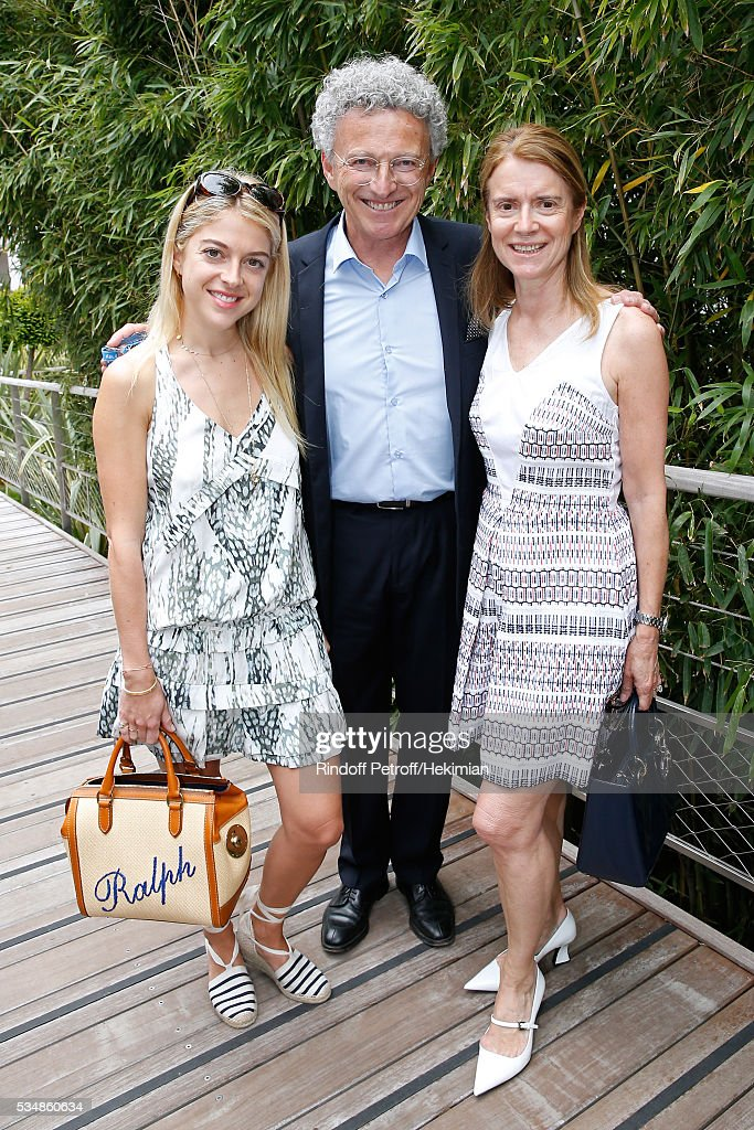 Journalist Nelson Monfort standing between his wife Dominique and their daughter Victoria attend Day Seven of the 2016 French Tennis Open at Roland Garros on May 28, 2016 in Paris, France.