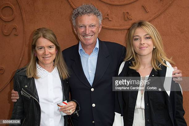 Journalist Nelson Monfort standing between with his daughter Victoria and his wife Dominique attend the Roland Garros French Tennis Open 2014
