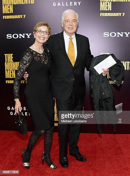 Journalist Nick Clooney and Nina Bruce Warren attend 'The Monuments Men' premiere at Ziegfeld Theater on February 4 2014 in New York City New York
