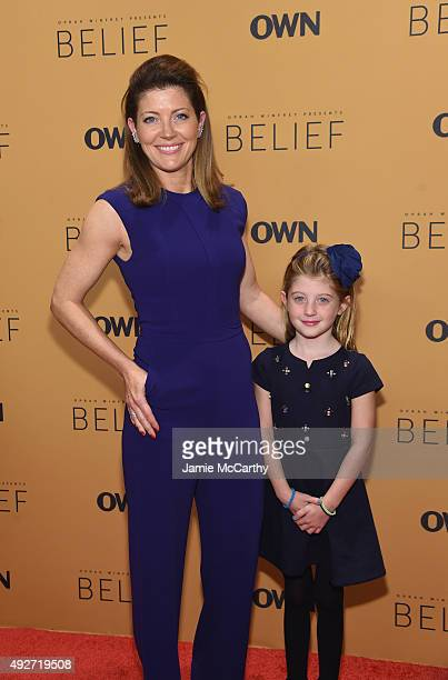 Journalist Norah O'Donnell and Grace O'Donnell attend the 'Belief' New York premiere at TheTimesCenter on October 14 2015 in New York City