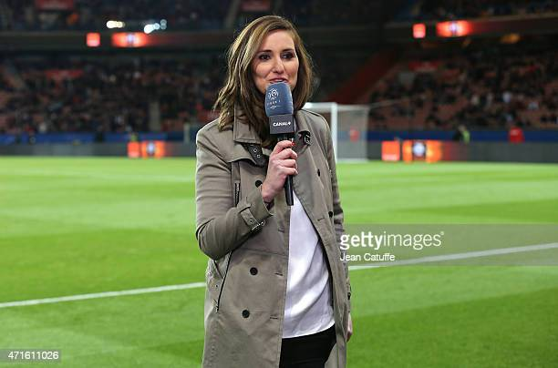 Journalist of Canal Plus Marie Portolano comments the French Ligue 1 match between Paris SaintGermain and FC Metz at Parc des Princes stadium on...