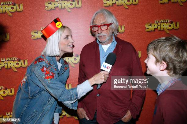 Journalist of TF1 50' Inside AnneSophie Delcour actors of the movie Pierre Richard and 'Le Petit Spirou' Sacha Pinault attend the 'Le Petit Spirou'...
