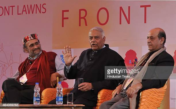 Journalist Paranjoy Guha Thakurta BJP leader Yashwant Sinha and former Chief Election Commissioner of India Naveen Chawala in conversation on...