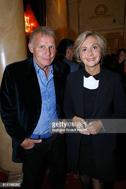 Journalist Patrick Poivre d'Arvor and politician Valerie Pecresse attend the 'A Droite A Gauche' Theater Play at Theatre des Varietes on October 12...