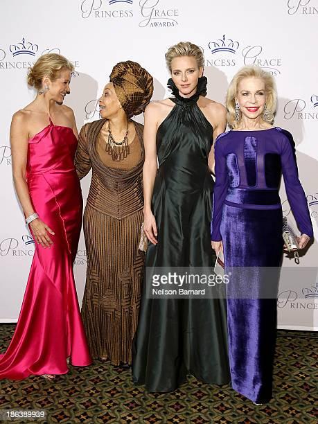 Journalist Paula Zahn Bridgette Radebe HSH Princess Charlene of Monaco and Lynn Wyatt attend the 2013 Princess Grace Awards Gala at Cipriani 42nd...