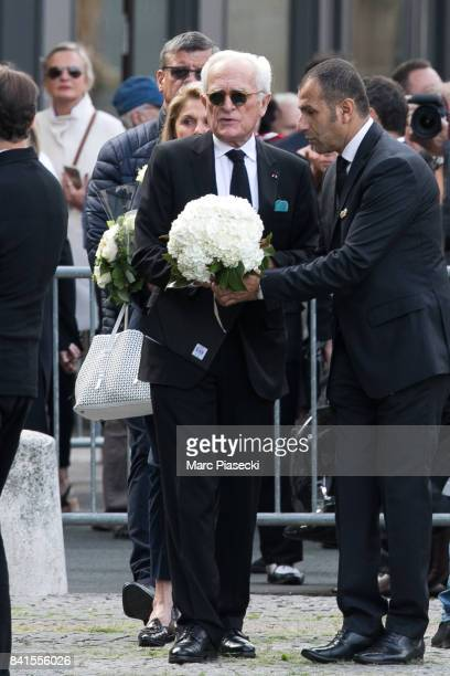 Journalist Philippe Labro attends actress Mireille Darc's Funerals at Eglise SaintSulpice on September 1 2017 in Paris France