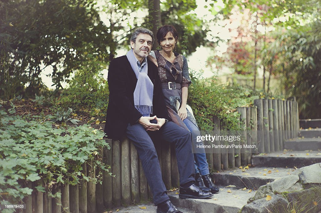 Journalist Philippe Lefait and Pom Bessot are photographed for Paris Match on November 6, 2013 in Paris, France.