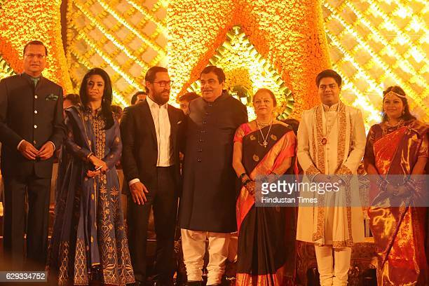 Journalist Rajat Sharma Bollywood actor Aamir Khan Union Minister Nitin Gadkari and his wife Kanchan Gadkari with newlywed daughter Ketki and...