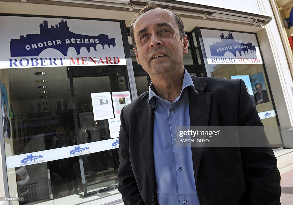 Journalist Robert Menard, one of the original co-founders of the 'Reporters Without Borders' press freedom and rights organization, who is currently campaigning for the Beziers municipal council in the 'Choisir Béziers' list supported by the far-right Front National party, arrives at the party headquarters for a press conference, in Beziers, on June 6, 2013. Meanwhile the 'Reporters Without Borders' organization discredited the actions of its former co-founder and distanced itself from him saying he had left the organization in 2008 and represented in no way the current values of the group.