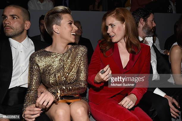 Journalist Romain Dauriac actress Scarlett Johansson and actress Amy Adams all wearing TOM FORD attend the TOM FORD Autumn/Winter 2015 Womenswear...