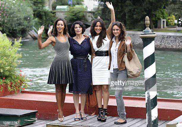 Journalist Rula Jebreal actress Hiam Abbass actress Yasmine Al Masri and actress Ruba Blal attends the 67th Venice Film Festival on September 3 2010...