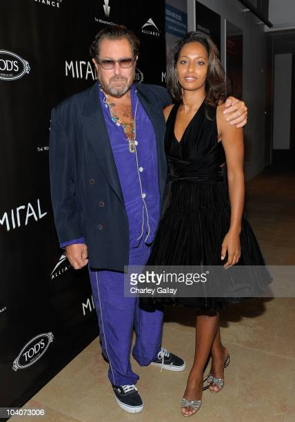 Journalist Rula Jebreal and director/artist Julian Schnabel attend The Weinstein and Alliance Pictures Party for 'Miral' hosted by TOD'S held at the...