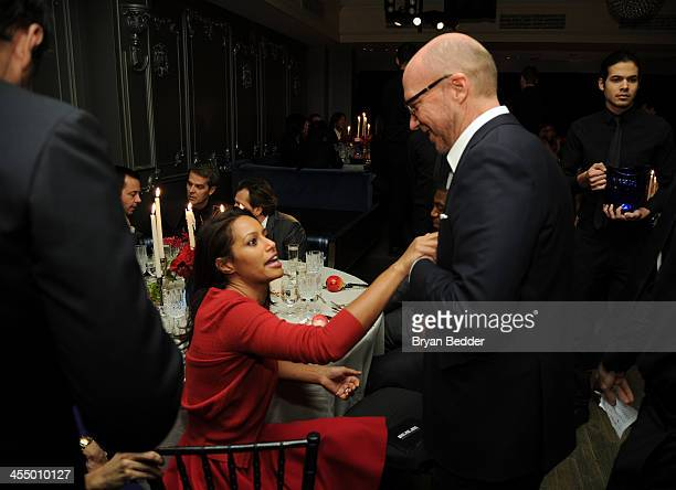 Journalist Rula Jebreal and Screenwriter and Artists for Peach and Justice Founder Paul Haggis attend Artists for Peace and Justice NYC Holiday...