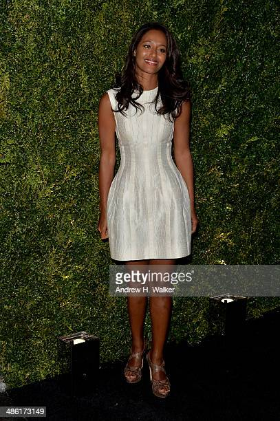 Journalist Rula Jebreal attends the Chanel Tribeca Film Festival Artist Dinner during the 2014 Tribeca Film Festival at Balthazar on April 22 2014 in...