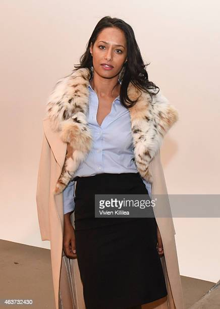 Journalist Rula Jebreal attends the Sophie Theallet show during MADE Fashion Week Fall 2015 at Pier 59 Studios on February 17 2015 in New York City