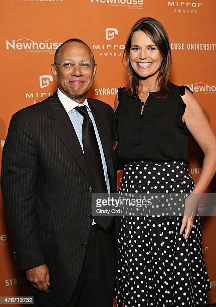 Journalist Savannah Guthrie and journalist/ executive editor at The New York Times Dean Baquet attend the Mirror Awards '15 at Cipriani 42nd Street...
