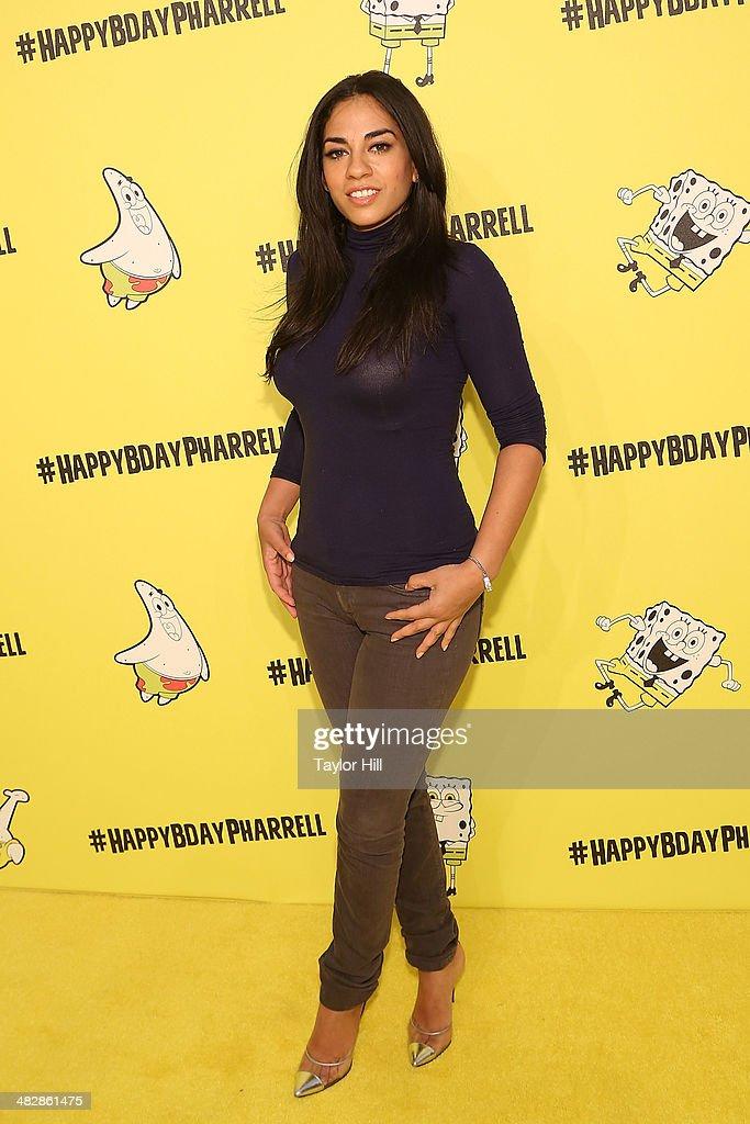 Journalist Sharon Carpenter attends Pharrell Williams SpongeBobthemed 41st birthday party at Bikini Bottom at Cipriani Wall Street on April 4 2014 in...