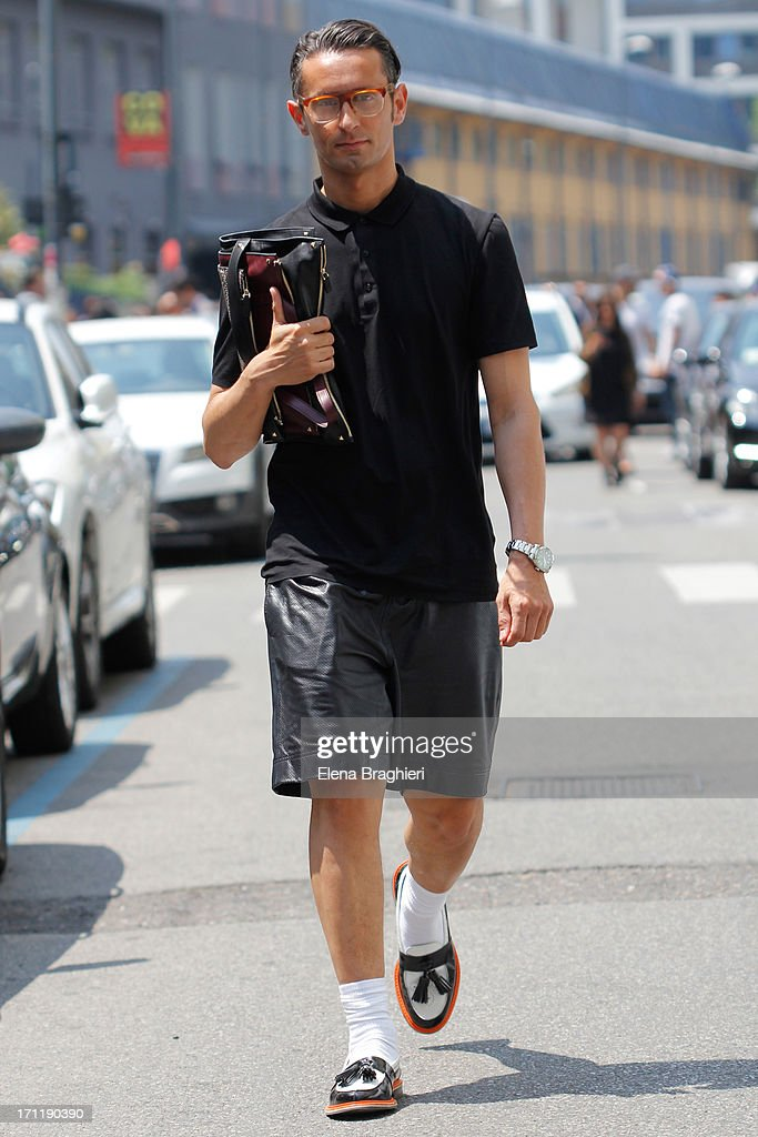 Journalist Simone Marchetti during Milan Fashion Week Menswear Spring/Summer 2014 on June 22, 2013 in Milan, Italy.