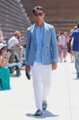 Journalist Simone Marchetti is seen at Pitti Immagine Uomo 84 on June 19 2013 in Florence Italy