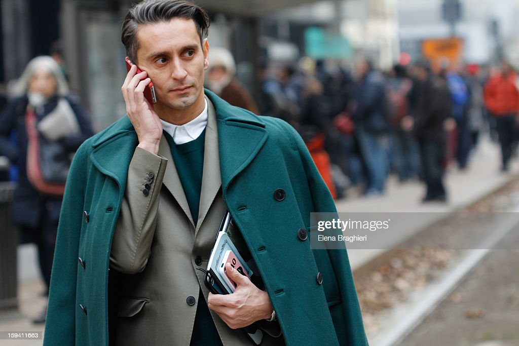 Journalist Simone Marchetti is seen during Milan Fashion Week Menswear Autumn/Winter 2013 on January 12, 2013 in Milan, Italy.