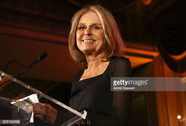 Journalist social and political activist Gloria Steinem speaks on stage at Ms Foundation For Women 2016 Gloria Awards Gala at The Pierre Hotel on...