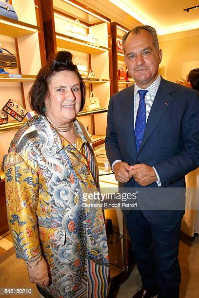 Journalist Suzy Menkes and Leonardo Ferragamo attend the Re Opening of Salvatore Ferragamo Boutique at Avenue Montaigne on July 5 2016 in Paris France