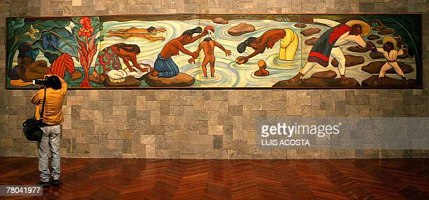 A journalist takes a picture of the paiting 'Rio Juchitan' created by Mexican artist Diego Rivera during a presentation for the press at the Fine...
