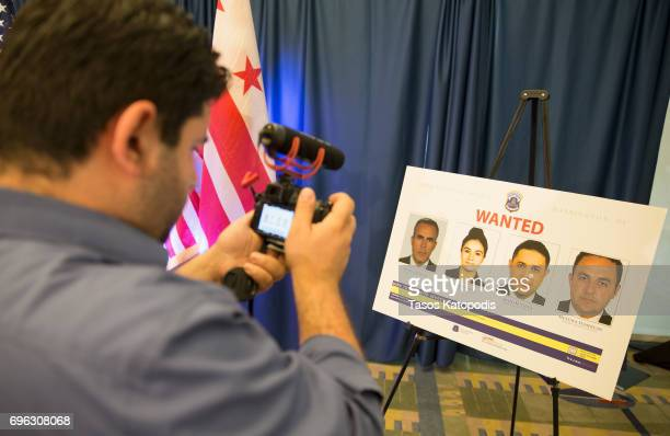 A journalist takes video at the press conference on June 15 2017 in Washington DC District of Columbia Mayor Muriel Bowser and Metropolitan Police...