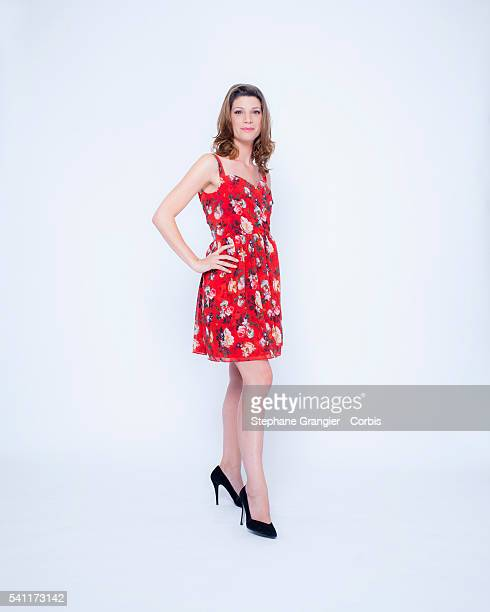 Journalist television weather presenter Chloe Nabedian poses during a photoshoot in Boulogne Billancourt on July 9 2015 in Paris France