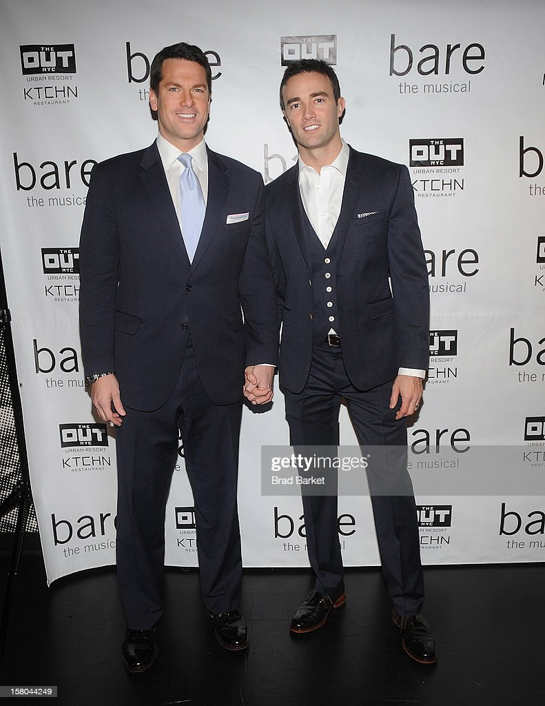 Journalist Thomas Roberts (L) and Patrick Abner attend 'BARE The Musical' Opening Night at New World Stages on December 9, 2012 in New York City.