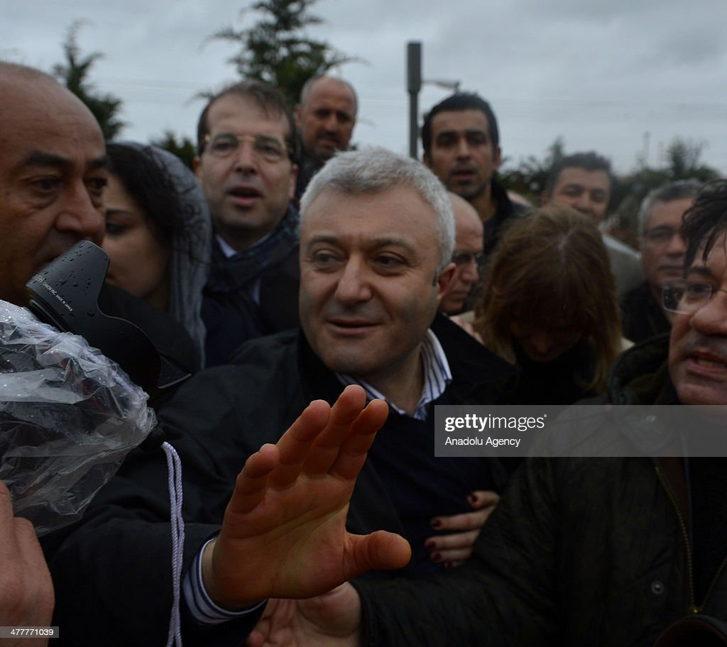 Journalist Tuncay Ozkan in the Ergenekon coup plot case released from Silivri Prison in Istanbul following the 21th High Criminal Courts order after...