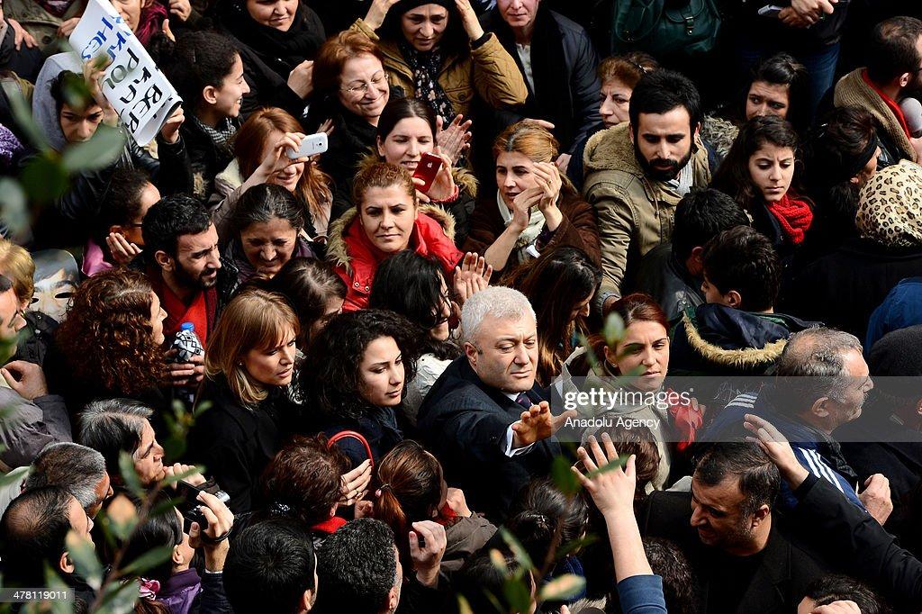 Journalist Tuncay Ozkan in the Ergenekon coup plot case released from Silivri Prison attend to Berkin Elvan's funeral ceromony at the Okmeydani...