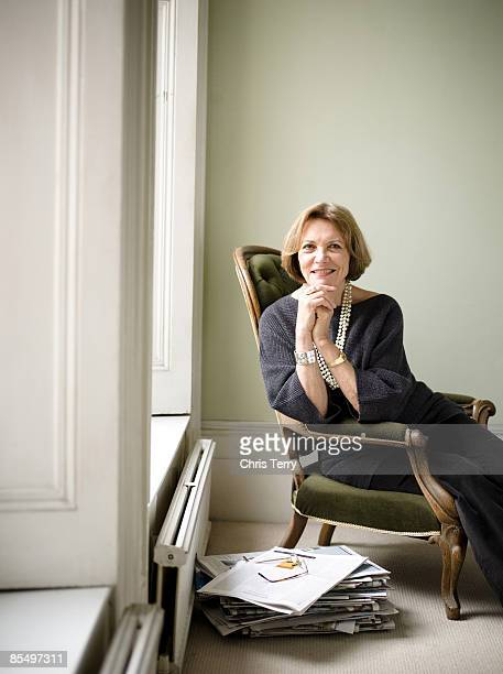 Journalist tv presenter Joan Bakewell poses for a portrait shoot for Good Housekeeping magazine in London on October 13 2008
